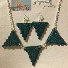 TEAL BLUE  GREEN ART DECO STYLE HAND CRAFTED NECKLACE & EARRINGS SET SKYSCRAPER