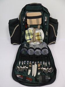 Faringdon Outdoors Picnic Bag Green Backpack Cutlery Plates and Glasses C20