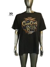 """Vintage 3D Emblem Harley Davidson, """"Good Guys Wear Black"""" T-Shirt Biker"""