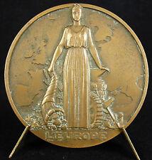 Médaille allégorie assurance l'Europe carte à Jean Camilou sc Albert David Medal