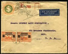 Netherlands Dutch East Indies Airmail REGISTERED Cover to USA 1934 Cincinnati