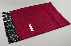 Echarpe étole châle chèche foulard 180x72 cm Népal coton-viscose Rouge 4144