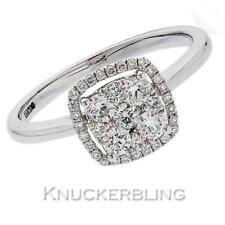 Anello di diamanti 0.50ct F VS splendido taglio squadrato impostazione Halo IN ORO BIANCO 18ct