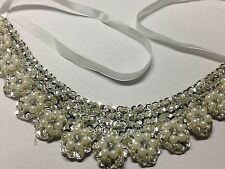 Faux Peter Pan Silver Collar Necklace for Women Detachable Beaded Choker Style 9