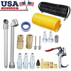 20pcs/set AIR COMPRESSOR ACCESSORY KIT Tools 25 Ft Recoil Hose Gun Nozzles USA