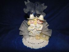 New Western Cowgirl Cowboy Couple Wedding Cake topper with Kissing Doves