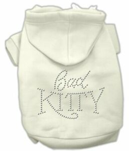 """Mirage Pet Products WHITE CAT Dog Hoodie 10"""" BACK Jumper Silver Studs BAD KITTY"""