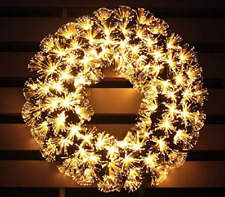 "Pre-Lit Fiber Optic Christmas Wreath (Warm White ) 18"" Lighted PVC Wreath"