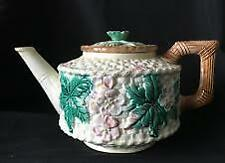 Beautiful Antique Majolica Pottery Tea Pot with Lid
