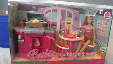 "NEW BARBIE MY HOUSE BARBECUE & 12"" DOLL GRILL TABLE CHAIRS FOOD & ACCESSORIES"
