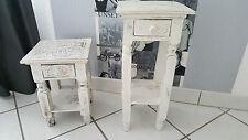 2er Set weiß Telefontisch Blumensäule Blumentisch Beistelltisch Massiv shabby