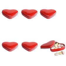 6 forma de corazón cajas lata con Dulces Boda Recuerdos Rojo O Blanco