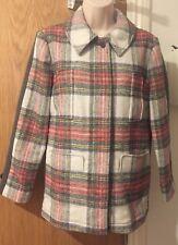 Stella McCartney Kids Tartan Wool Blend Coat Red/Grey 12 years