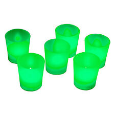 New 6 X Green Mood Color Led Lights Flameless Votive Candle Tea Light Candles