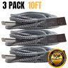 3 Pack 10Ft Lightning Cable USB iPhone Charger X XS 8 7 6 5 Fast Charging Cord