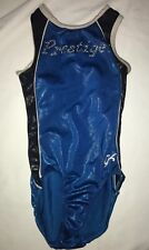 Girl's Gk Blue,Black Silver Gymnastic Leotard Adult Xs Prestige in Chrystals