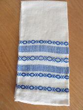 Ecru Linen Fingertip Hand Towel   Woven Design in Royal Blue  13 x 20