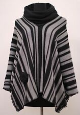 PRISA EUROPEAN COTTON KNITWEAR PULLOVER PONCHO SWEATER BLK & GRY STRIPED ONE SZ