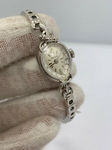 Ladies Vintage Bulova 14Kt White Gold Diamond Watch
