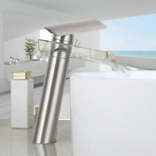 Brushed Nickel Waterfall Spout Bathroom Sink Wash Basin Faucet Mixer Glass Tap