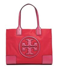 Tory Burch Ella Colorblock MINI Red Azalea Pink Nylon Leather Logo Tote $178