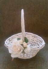 Wedding Flower Girl Wicker Basket White/ Ivory/ Cream for Flowergirl Confetti