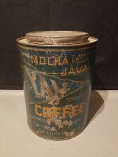 RARE 1930s YALE MOCHA JAVA ADVERTISING 1 POUND COFFEE TIN ST LOUIS MISSOURI