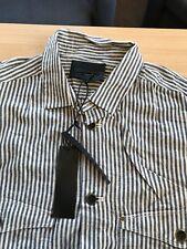 Diesel Ecru And Blue Stripe Over Shirt  Cotton Reg Fit Shirt 44 BNWT
