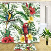 Watercolor Parrot Banana Leaf Bathroom Waterproof Fabric Shower Curtain & Hooks
