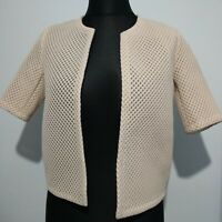COS Cropped Ivory Jacket 3D Honeycomb Effect Size XS Edge to Edge UK 8