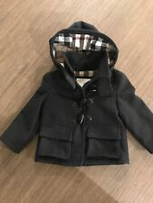 Burberry Baby Boy Wool Coat 18M Navy Removable Hood EUC