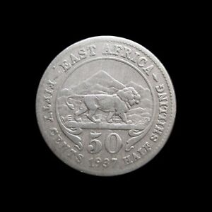 EAST AFRICA 50 CENTS 1937 SILVER KM 27 #1114#