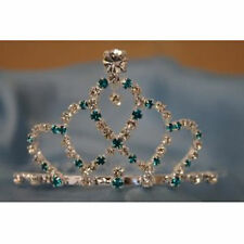 Bridal Wedding Party Tiara Crown w/ Ocean Blue Crystal