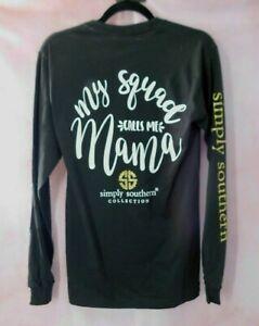 Simply Southern Long Sleeve Shirt Small My Squad Calls Me Mama Black NEW