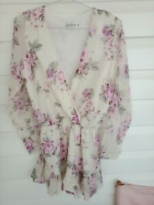 Woman's Lioness Jumpsuit S Floral Long Sheer Sleeve White Pink