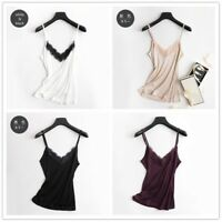 Ladies Pure Silk Strap Vest Lace Sleeveless Shirt Tank Top Spaghetti Cami V Neck