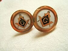 ANTIQUE GOLD FILLED MASONIC CUFF LINKS ENAMELED VERY NICE