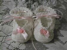 Handmade Hand Crocheted Baby  Booties - White w/Pink Ribbons & Flowers