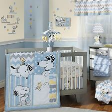 Little Snoopy Bedding Set 4 Piece Lambs Ivy Crib Nursery Baby Boys Chevron New