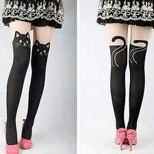 US Women`s Sexy Cartoon Animal Pantyhose Stockings with Cat Head and Tail Black