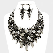 LUXE Amazing Hematite Black Jet Crystal Cocktail Necklace Set By Rocks Boutique