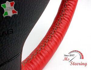 FOR MAZDA MX-3 92-95 RED LEATHER STEERING WHEEL COVER, DARK GREY 2 STIT