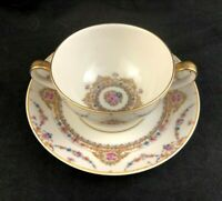 🟢 Theodore Haviland Limoges France CLIO Pattern Swag Bouillon Cup & Saucer