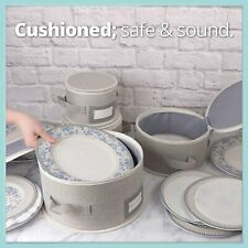 Feltectors China Dinnerware Storage Containers Hard Shell 4 Piece Storage Set...