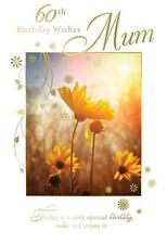 60th Birthday Wishes Mum Flower Field & Sun Design Happy Birthday Card