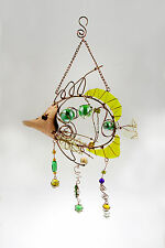 Hanging Copper Wire Frame Yellow Fish Mobile With Stained Glass And Beads