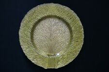 Murano Italian Art Glass Plate - Gold Color with Grooved Lines Design Pattern