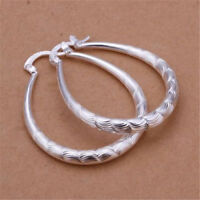 Fashion Womens 925 Silver Ear Hoop Wedding party U Earring lady jewelry Gift