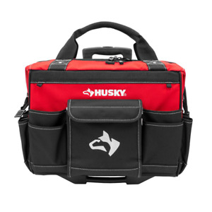 18 in. Zipper Top Rolling Weather Resistant Tool Tote Bag in Red with 18 total p