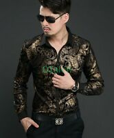 Vogue Spring Mens Floral Shirts Dress Mulberry Silk velvet Top Long Sleeve Shirt